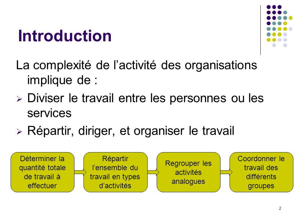 Introduction La complexité de l'activité des organisations implique de : Diviser le travail entre les personnes ou les services.