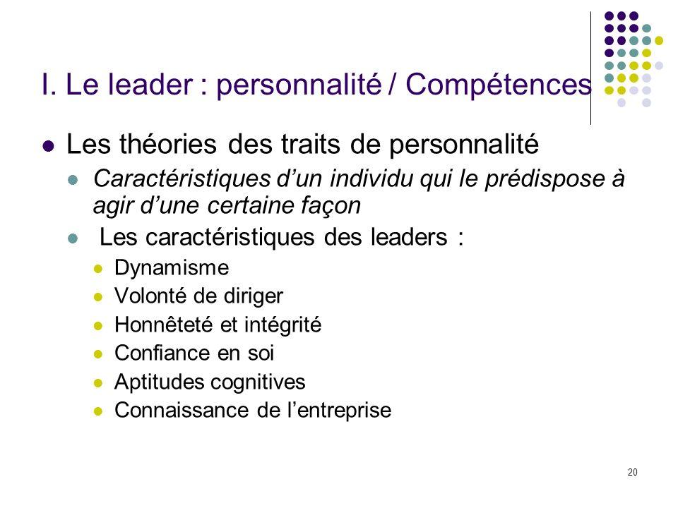 I. Le leader : personnalité / Compétences
