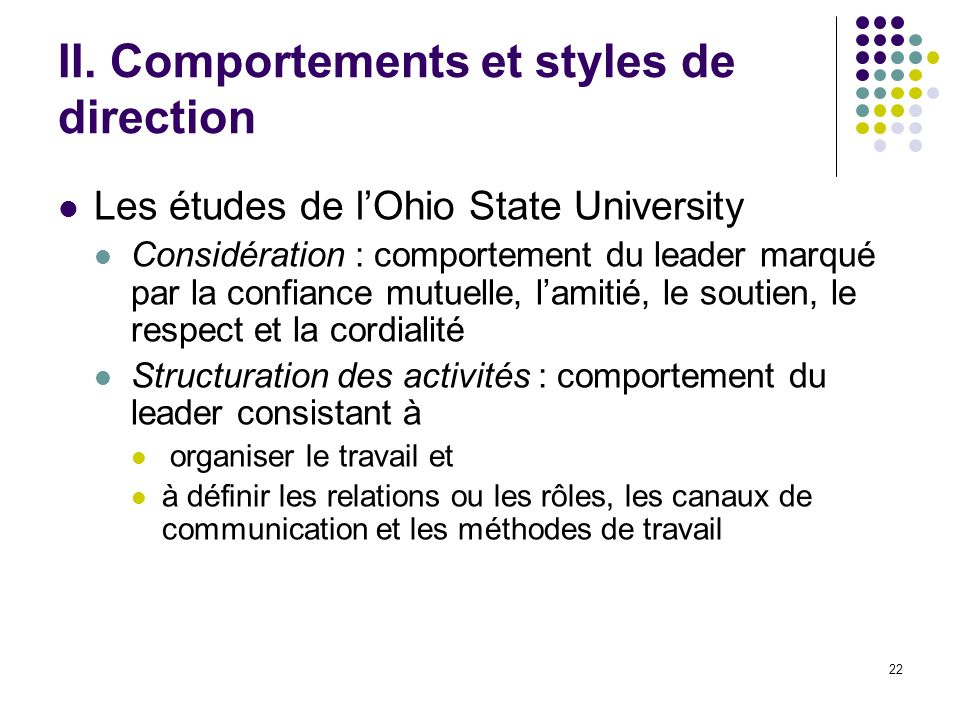 II. Comportements et styles de direction