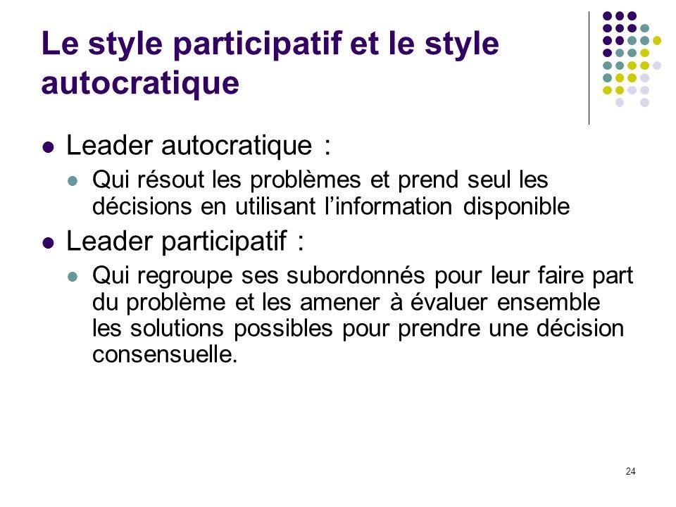 Le style participatif et le style autocratique