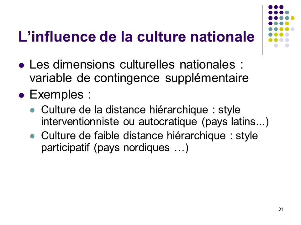 L'influence de la culture nationale