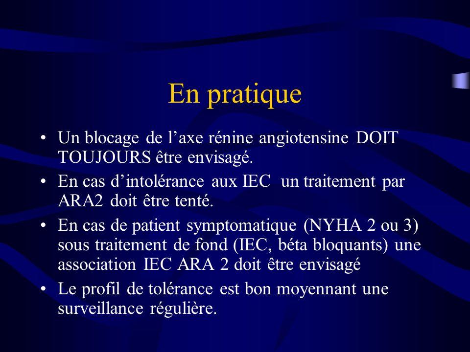 En pratique Un blocage de l'axe rénine angiotensine DOIT TOUJOURS être envisagé.