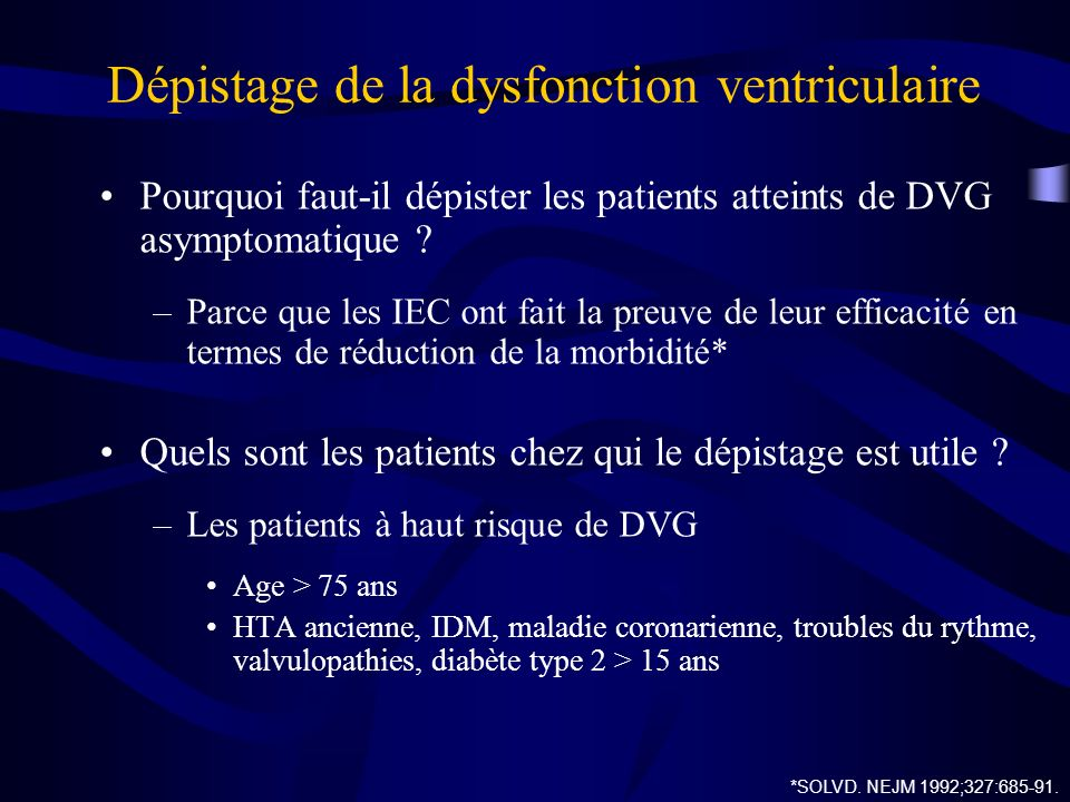 Dépistage de la dysfonction ventriculaire