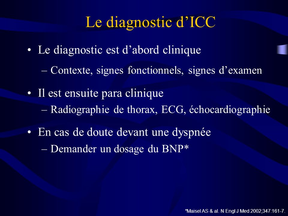 Le diagnostic d'ICC Le diagnostic est d'abord clinique