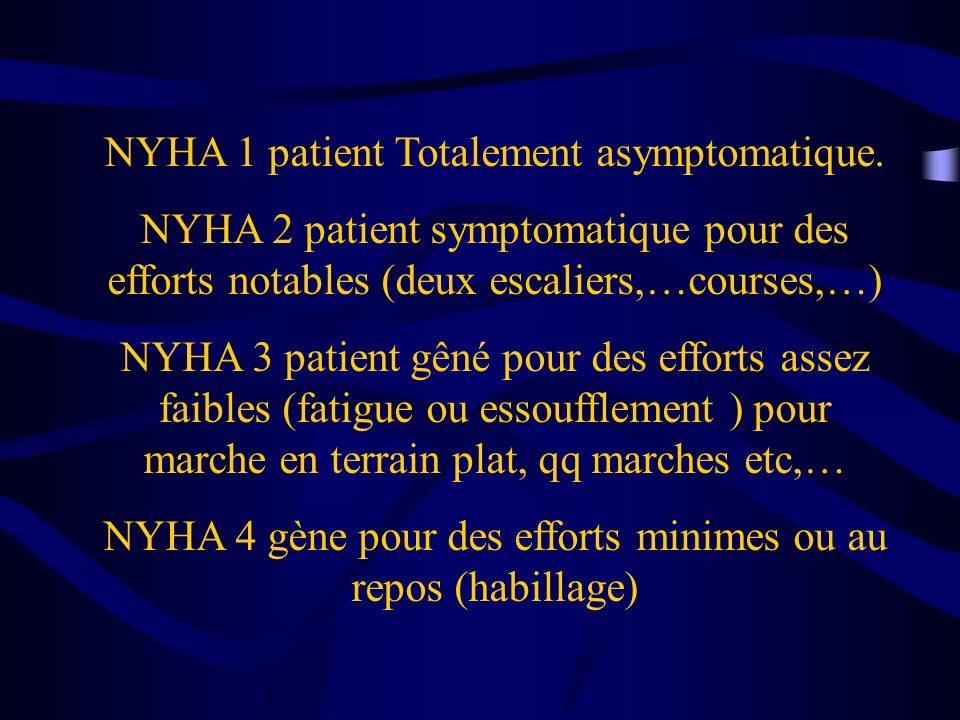 NYHA 1 patient Totalement asymptomatique.