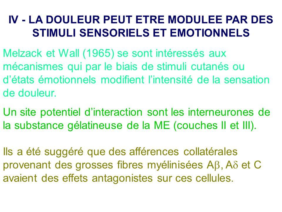 IV - LA DOULEUR PEUT ETRE MODULEE PAR DES STIMULI SENSORIELS ET EMOTIONNELS
