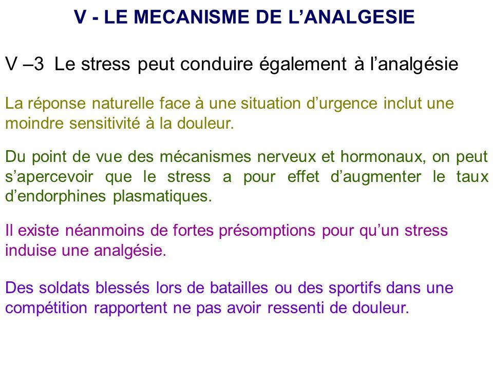 V - LE MECANISME DE L'ANALGESIE
