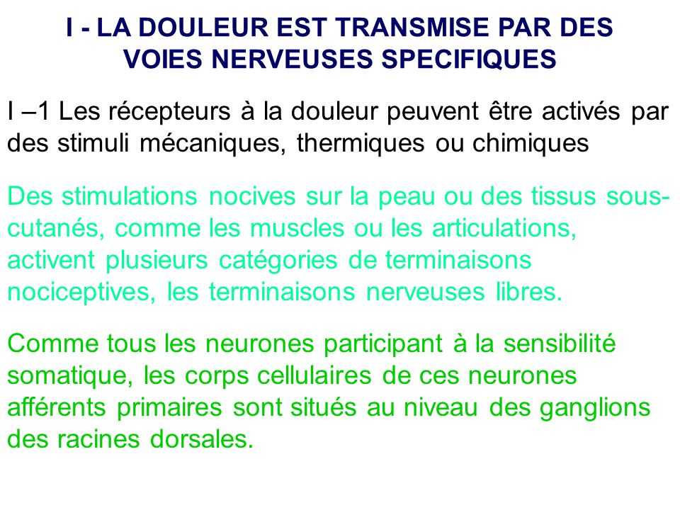 I - LA DOULEUR EST TRANSMISE PAR DES VOIES NERVEUSES SPECIFIQUES