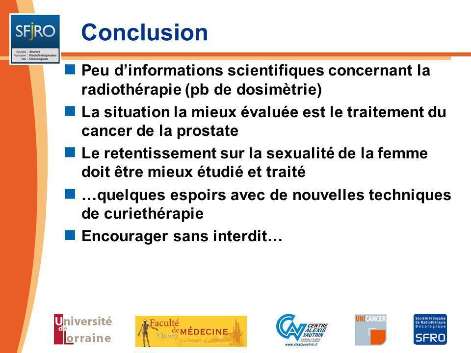 Conclusion Peu d'informations scientifiques concernant la radiothérapie (pb de dosimètrie)