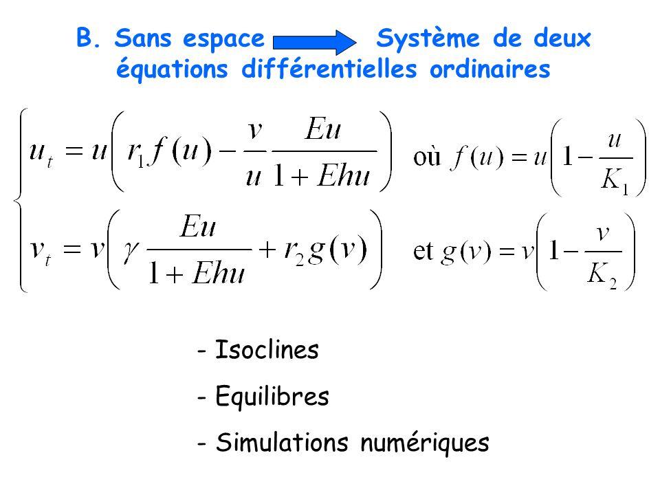 B. Sans espace Système de deux équations différentielles ordinaires