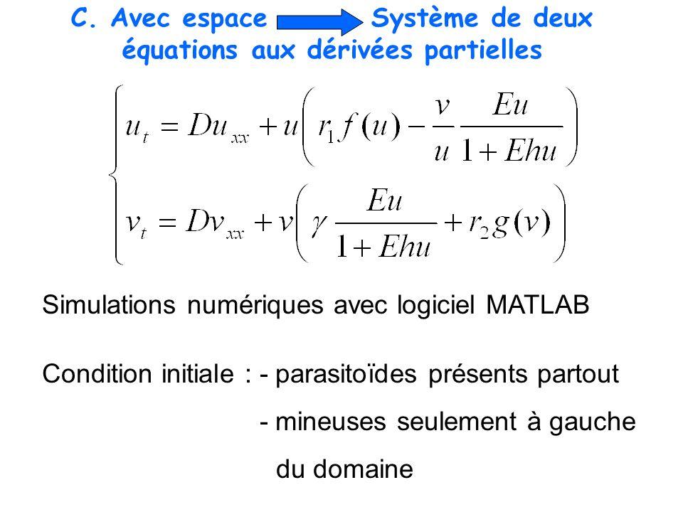 C. Avec espace Système de deux équations aux dérivées partielles