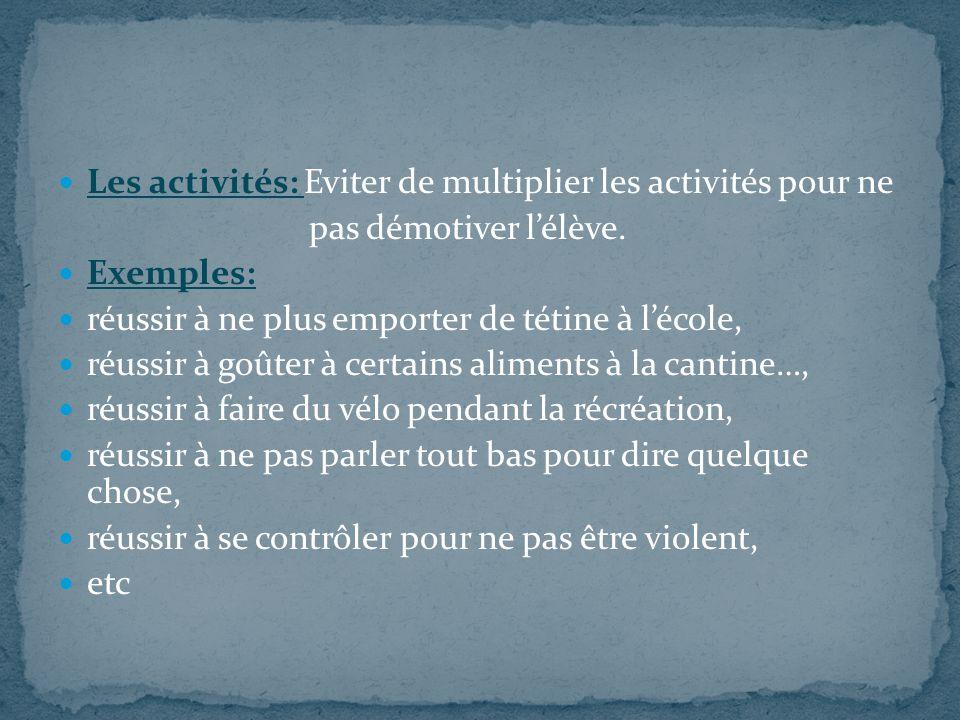 Les activités: Eviter de multiplier les activités pour ne
