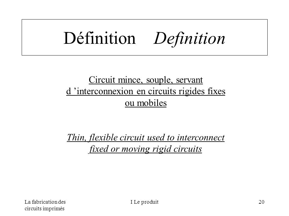 Définition Definition