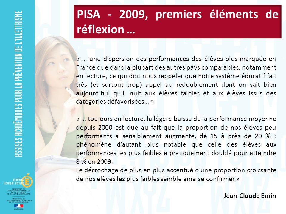 PISA - 2009, premiers éléments de réflexion …