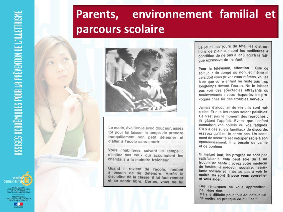 Parents, environnement familial et parcours scolaire