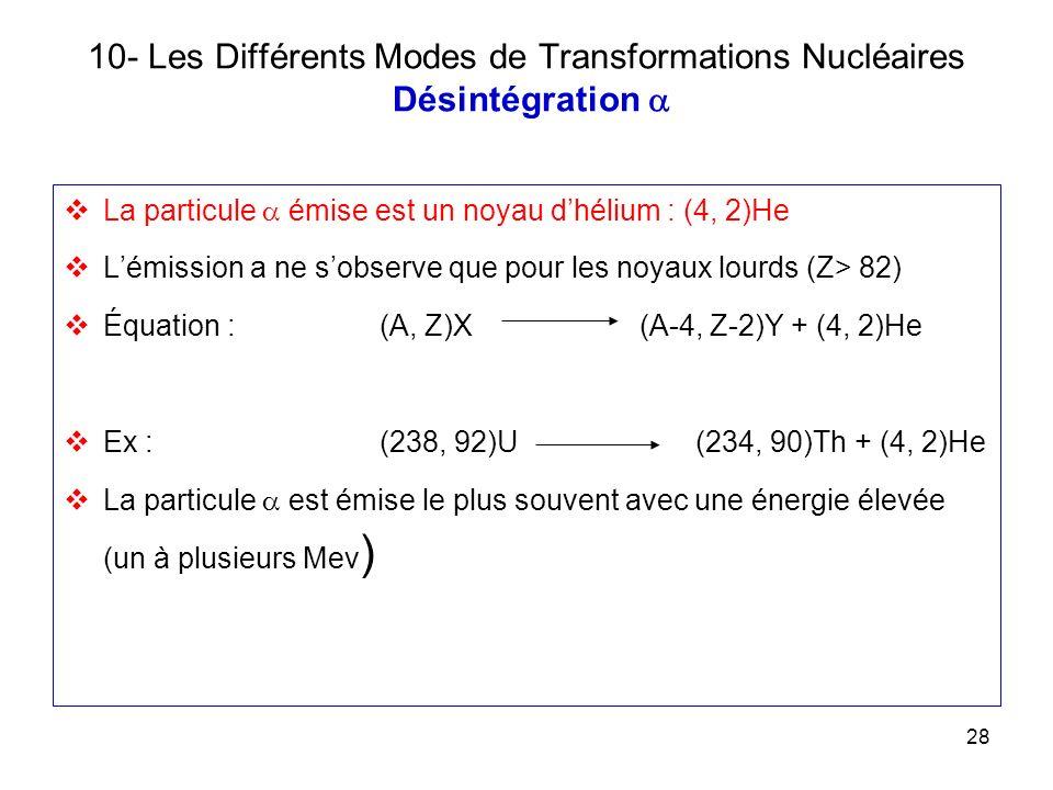 10- Les Différents Modes de Transformations Nucléaires Désintégration a