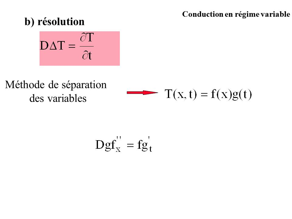 b) résolution Méthode de séparation des variables
