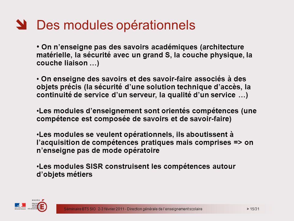 Des modules opérationnels