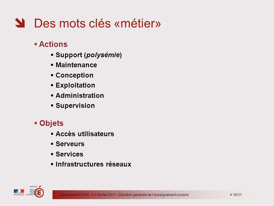 Des mots clés «métier» Actions Objets Support (polysémie) Maintenance