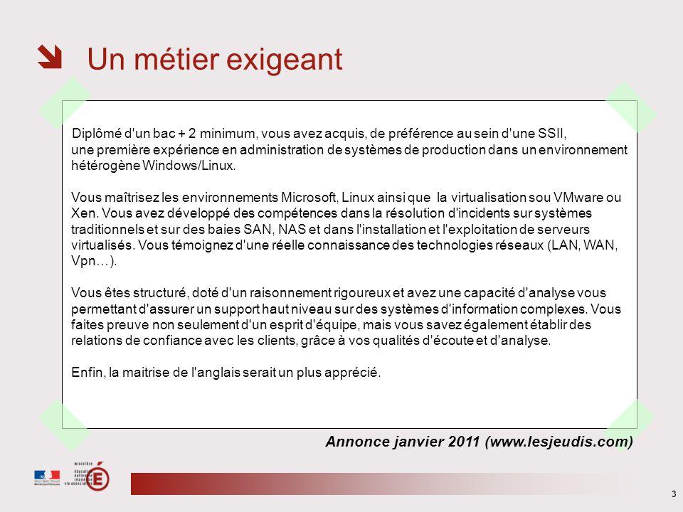 Un métier exigeant Annonce janvier 2011 (www.lesjeudis.com)