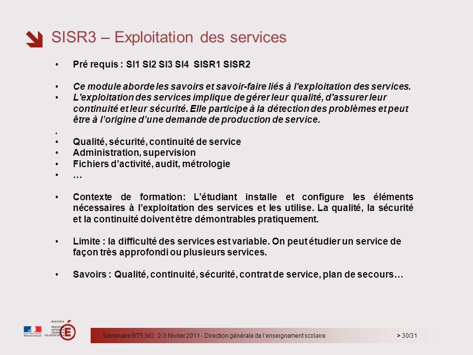 SISR3 – Exploitation des services