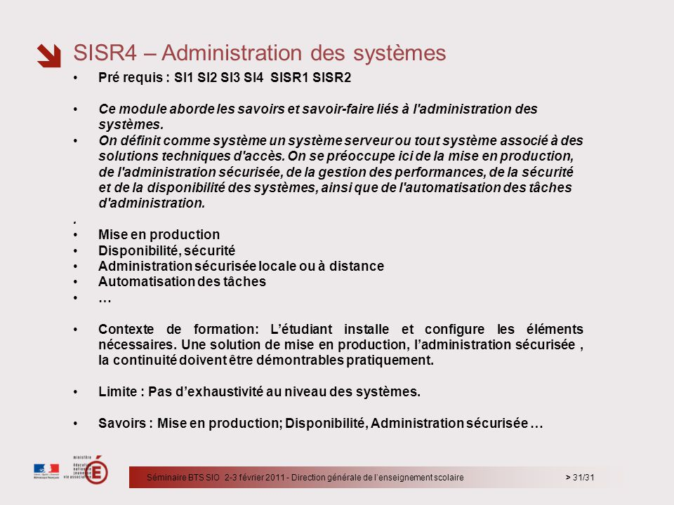 SISR4 – Administration des systèmes