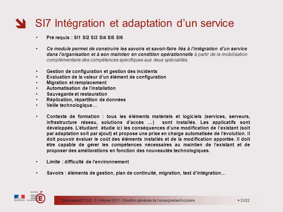 SI7 Intégration et adaptation d'un service