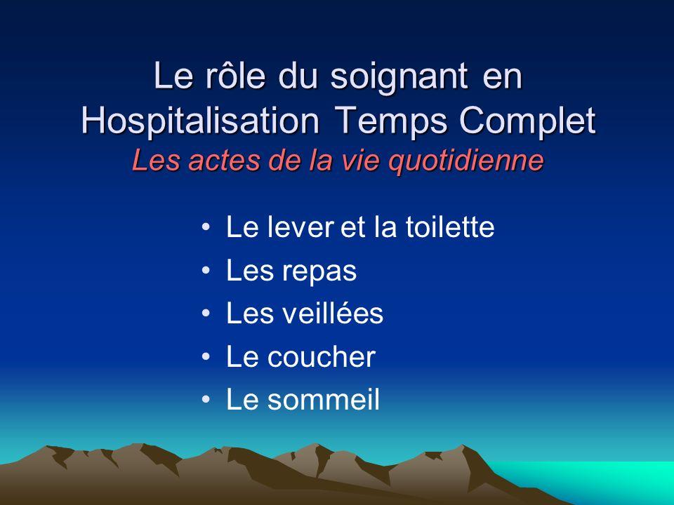 Le rôle du soignant en Hospitalisation Temps Complet Les actes de la vie quotidienne