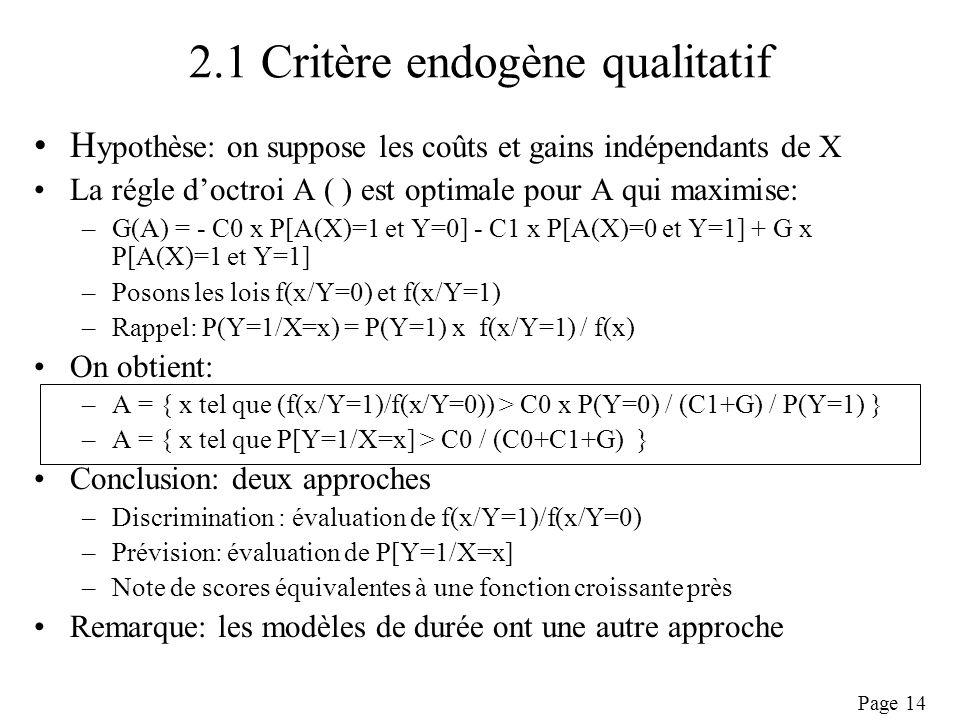 2.1 Critère endogène qualitatif