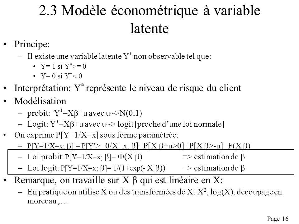 2.3 Modèle économétrique à variable latente