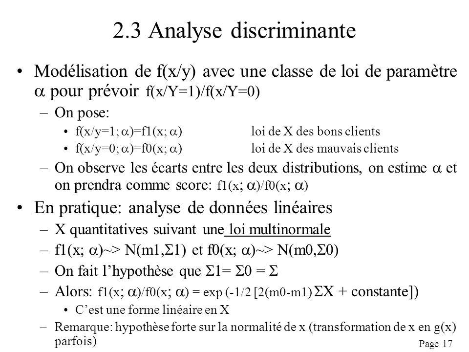 2.3 Analyse discriminante