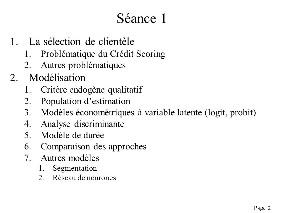 Séance 1 La sélection de clientèle Modélisation