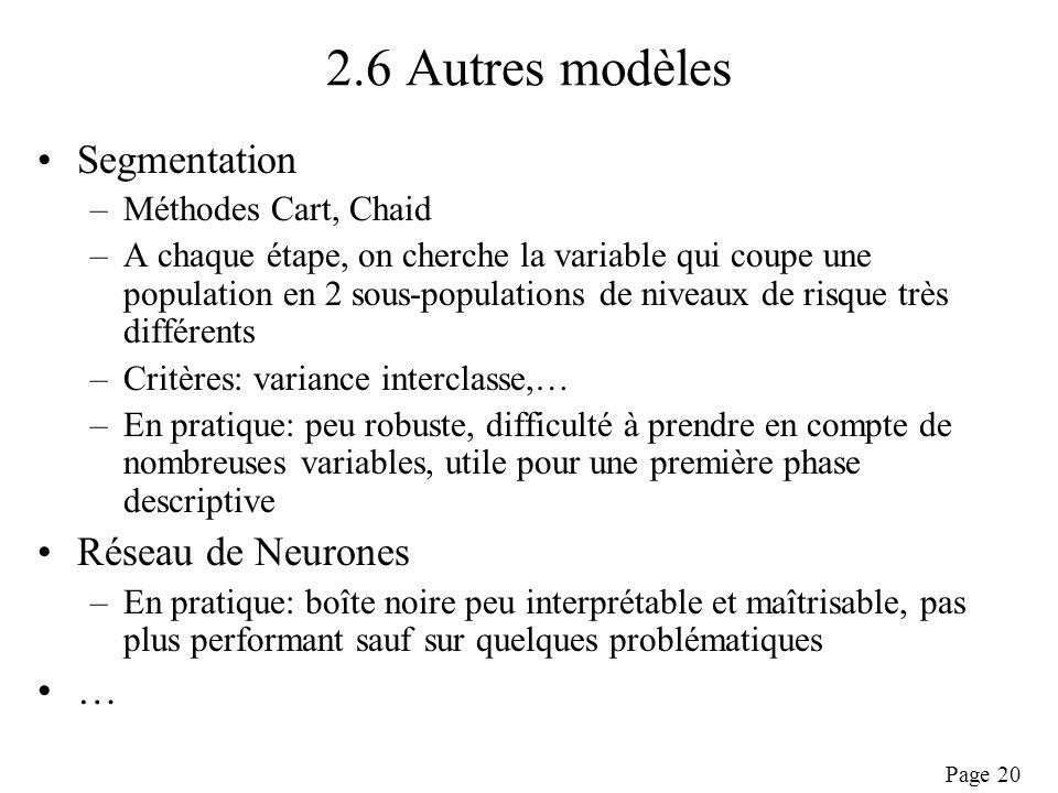 2.6 Autres modèles Segmentation Réseau de Neurones …