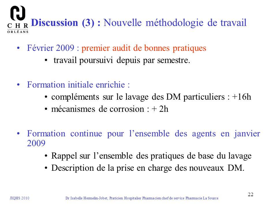 Discussion (3) : Nouvelle méthodologie de travail