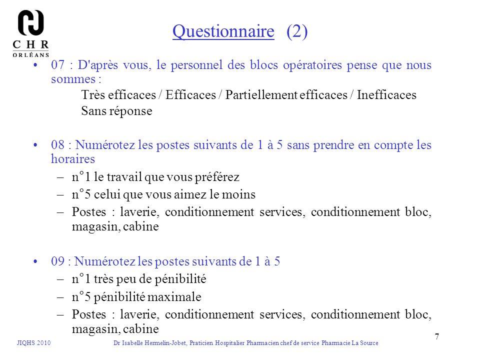 Questionnaire (2)07 : D après vous, le personnel des blocs opératoires pense que nous sommes :