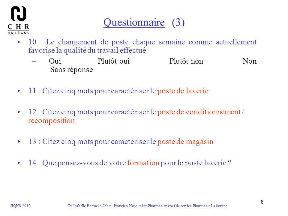 Questionnaire (3) 10 : Le changement de poste chaque semaine comme actuellement favorise la qualité du travail effectué.