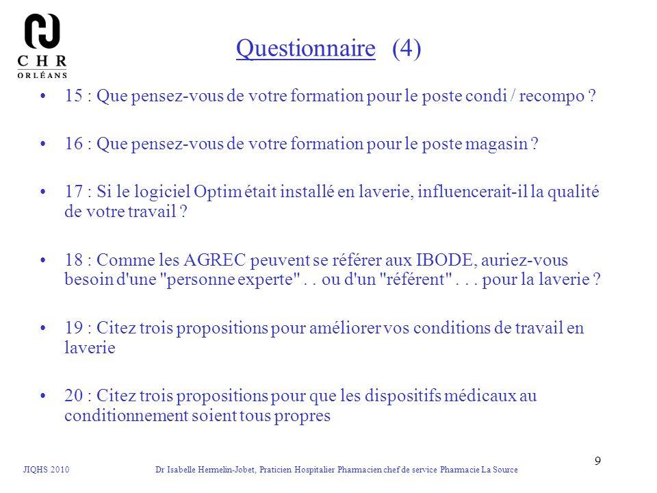 Questionnaire (4) 15 : Que pensez-vous de votre formation pour le poste condi / recompo