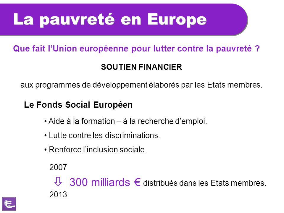 La pauvreté en Europe Que fait l'Union européenne pour lutter contre la pauvreté SOUTIEN FINANCIER.