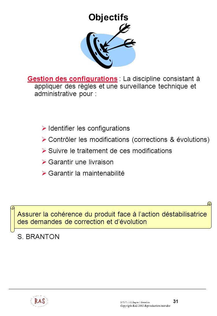 Objectifs Gestion des configurations : La discipline consistant à appliquer des règles et une surveillance technique et administrative pour :