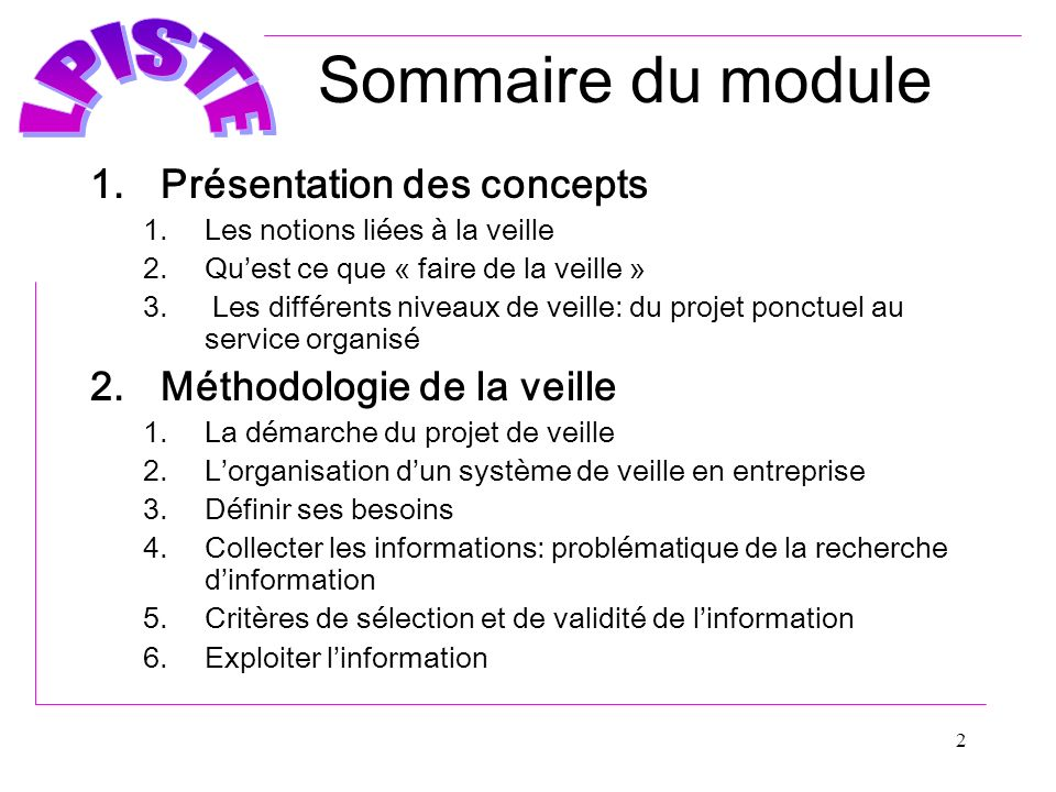 Sommaire du module Présentation des concepts Méthodologie de la veille