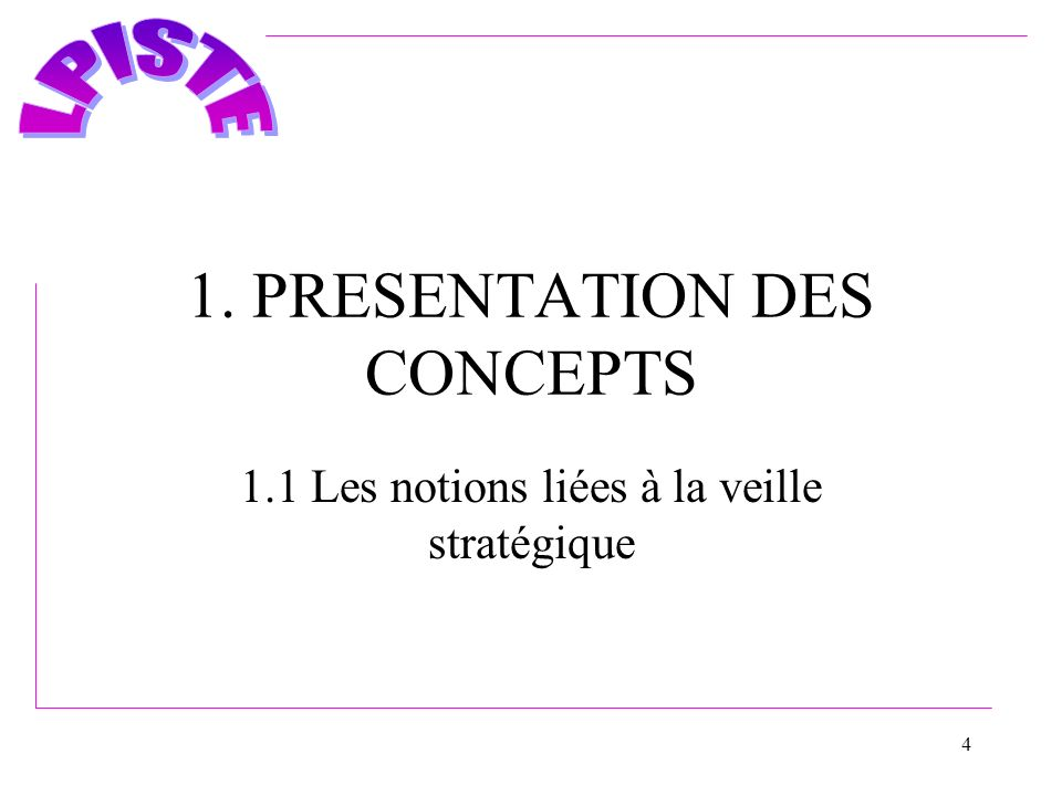 1. PRESENTATION DES CONCEPTS
