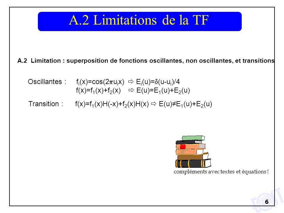 A.2 Limitations de la TF A.2 Limitation : superposition de fonctions oscillantes, non oscillantes, et transitions.