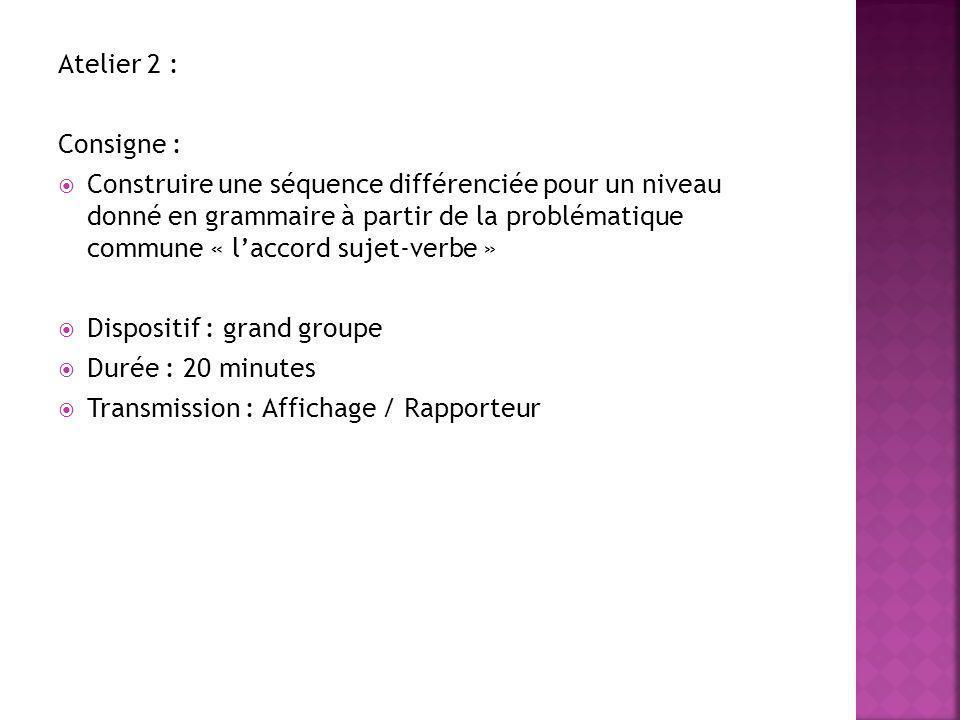Atelier 2 : Consigne :