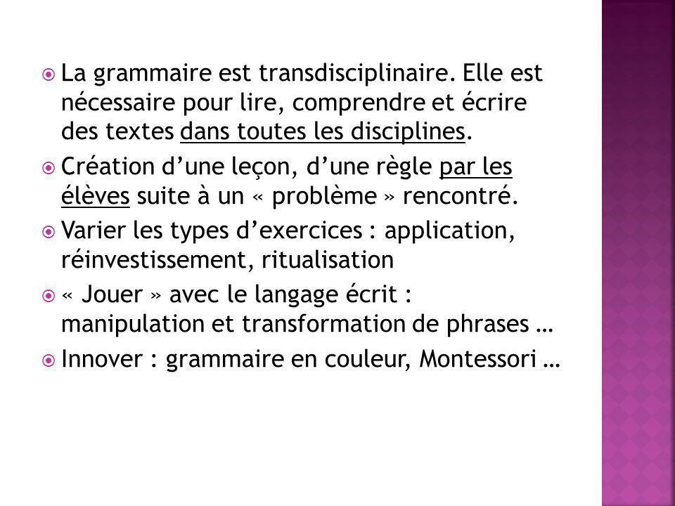 La grammaire est transdisciplinaire