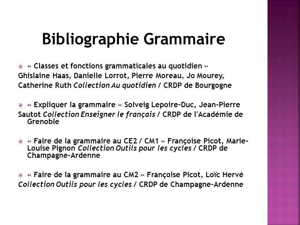 Bibliographie Grammaire