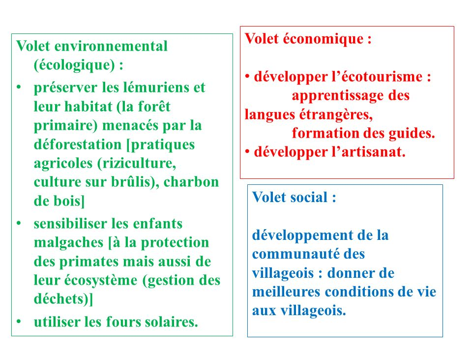Volet économique :développer l'écotourisme : apprentissage des langues étrangères, formation des guides.