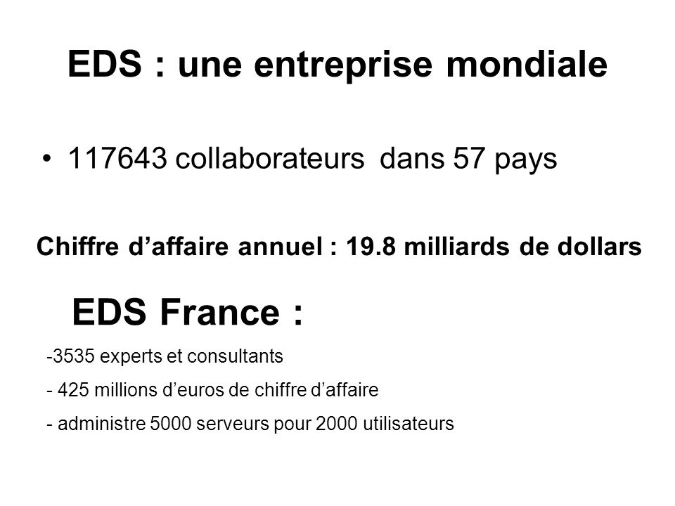 EDS : une entreprise mondiale