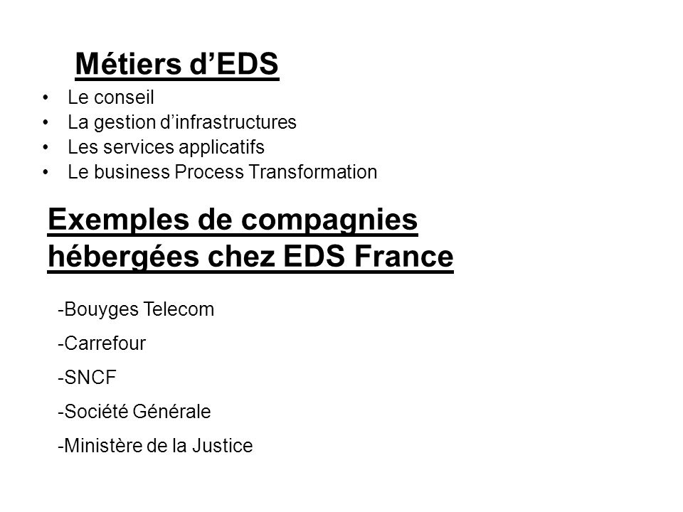 Exemples de compagnies hébergées chez EDS France