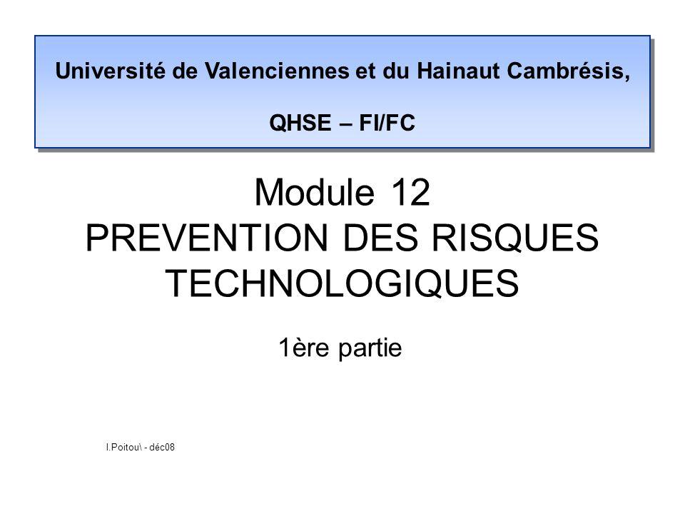 Module 12 PREVENTION DES RISQUES TECHNOLOGIQUES