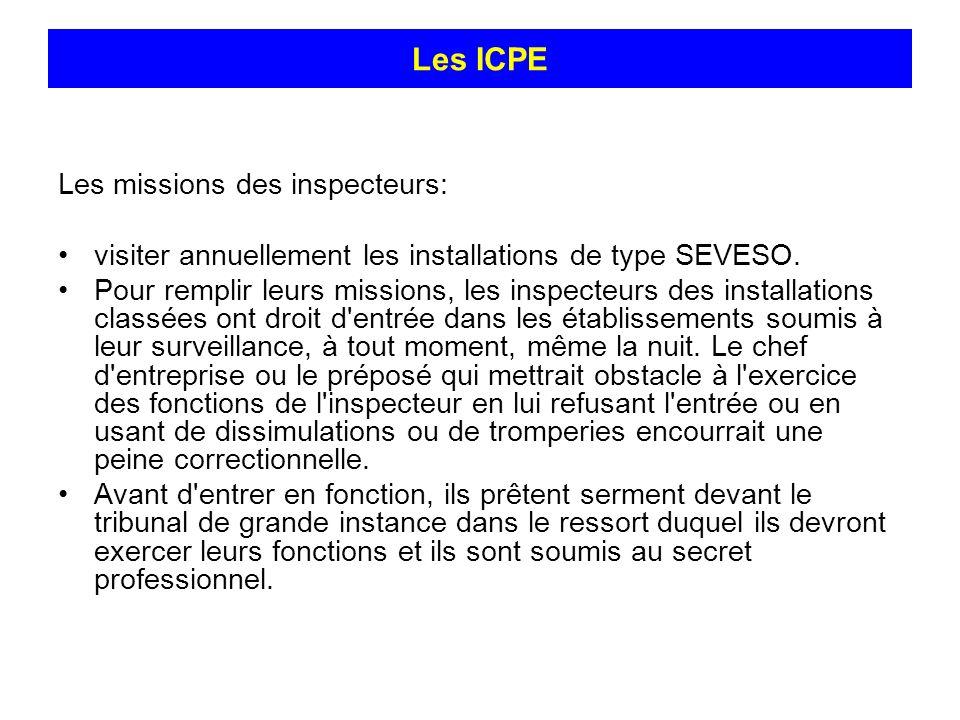 Les ICPE Les missions des inspecteurs: